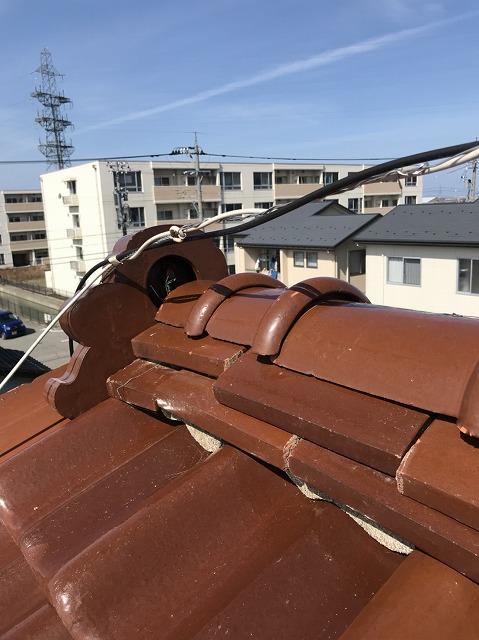 白山市築20年、屋根漆喰工事