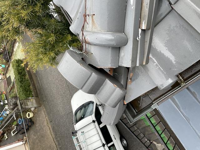 河北郡津幡町の住宅の現場調査にお伺いしました「瓦の割れ、ずれ」